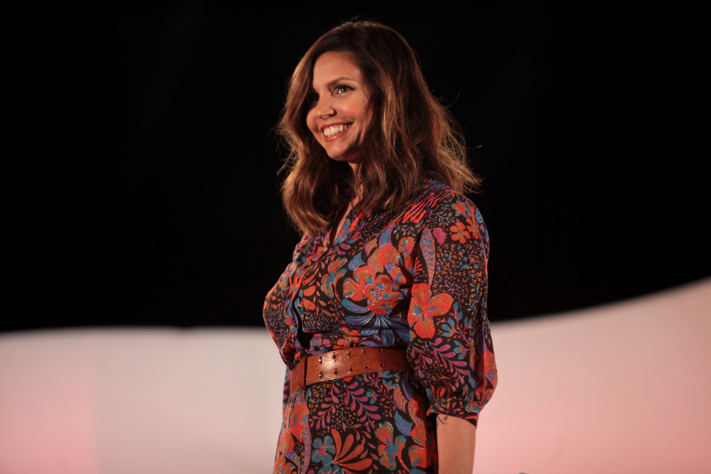 Charisma Carpenter speaking at an event.