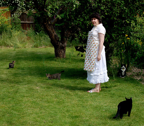 A woman standing in her yard, surrounded by cats.
