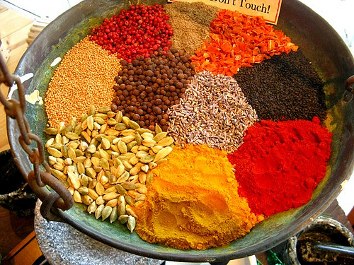 A large basket of spices.
