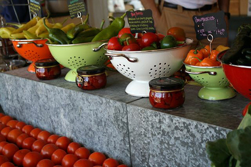An array of expensive produce at a farm stand.