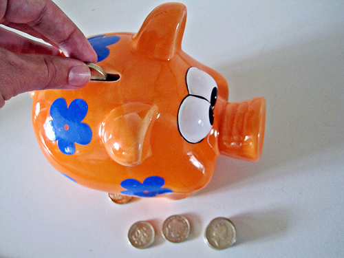 A piggy bank surrounded by coins.