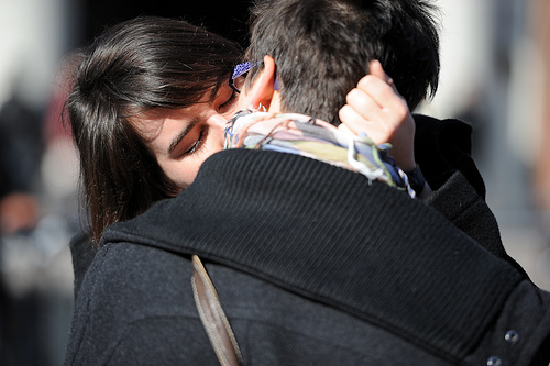 A lesbian couple at a kiss-in in Paris, France.