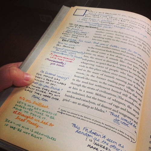 An inner view of one of the pages of S., showing the multicoloured margin notes.