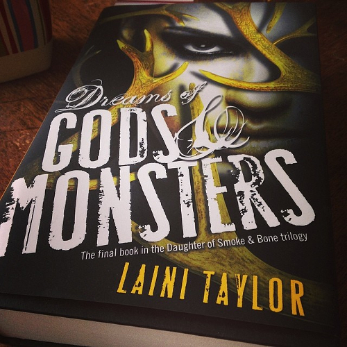 My copy of DREAMS OF GODS AND MONSTERS on the kitchen table.