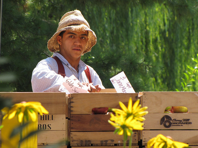 A farmhand wearing a burlap hat, leaning over crates of produce.