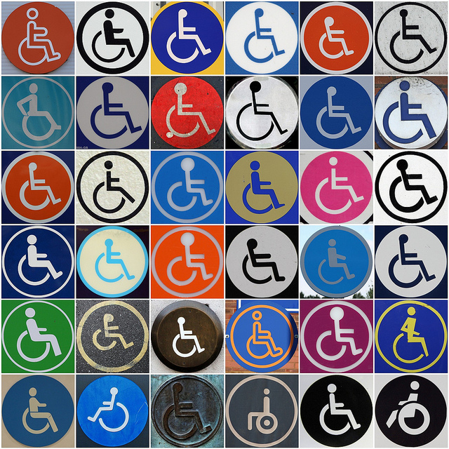 A collage of wheelchair access symbols from a variety of locations.