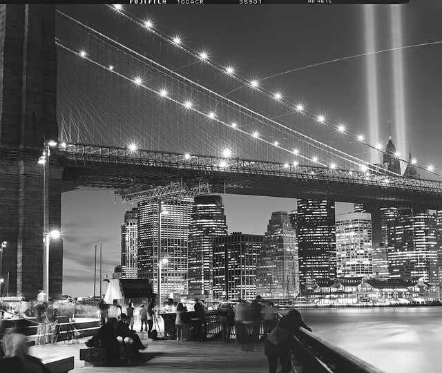 A black and white photograph of the annual Tribute in Light staged at the former World Trade Center site.