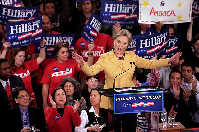 Hillary Clinton speaking at a campaign rally in 2008.