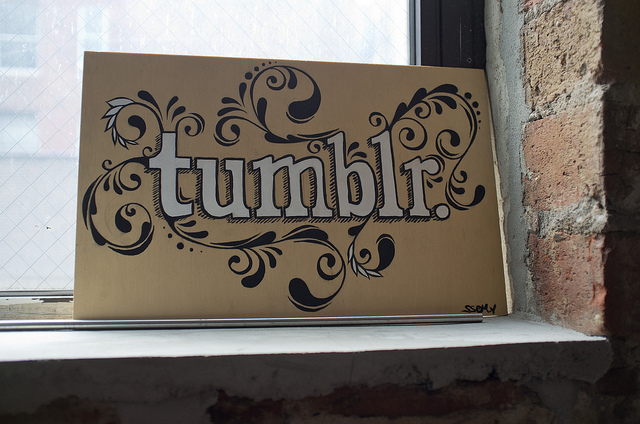 The Tumblr logo rendered in pen and ink.