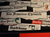 The mastheads of a number of major newspapers.