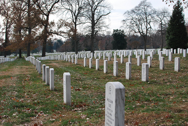 Row after row of military headstones
