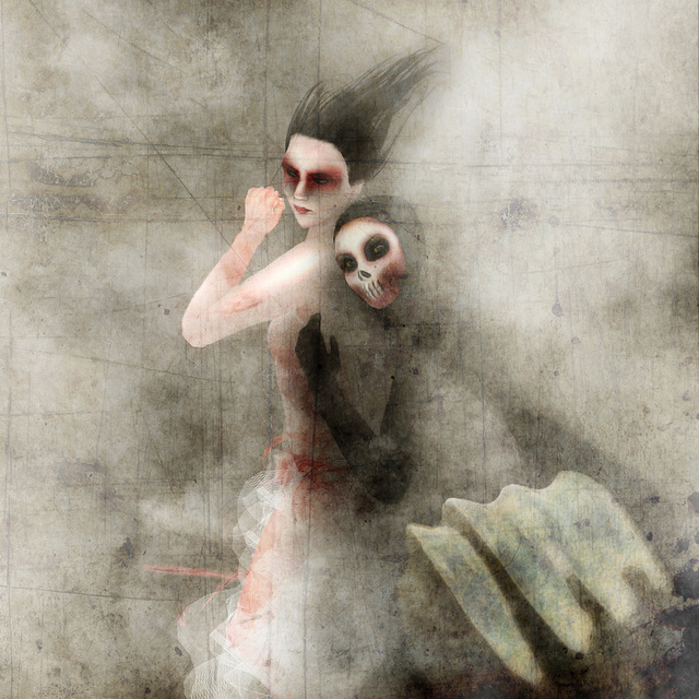 A photomanipulated image of Death and the Maiden, looking almost like a moody watercolour.