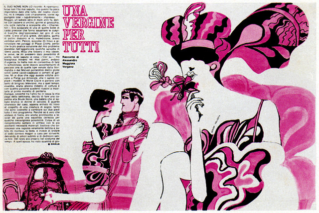 An ad from the 1960s, in French, featuring an elaborate pink and black illustration with copy along the margin.