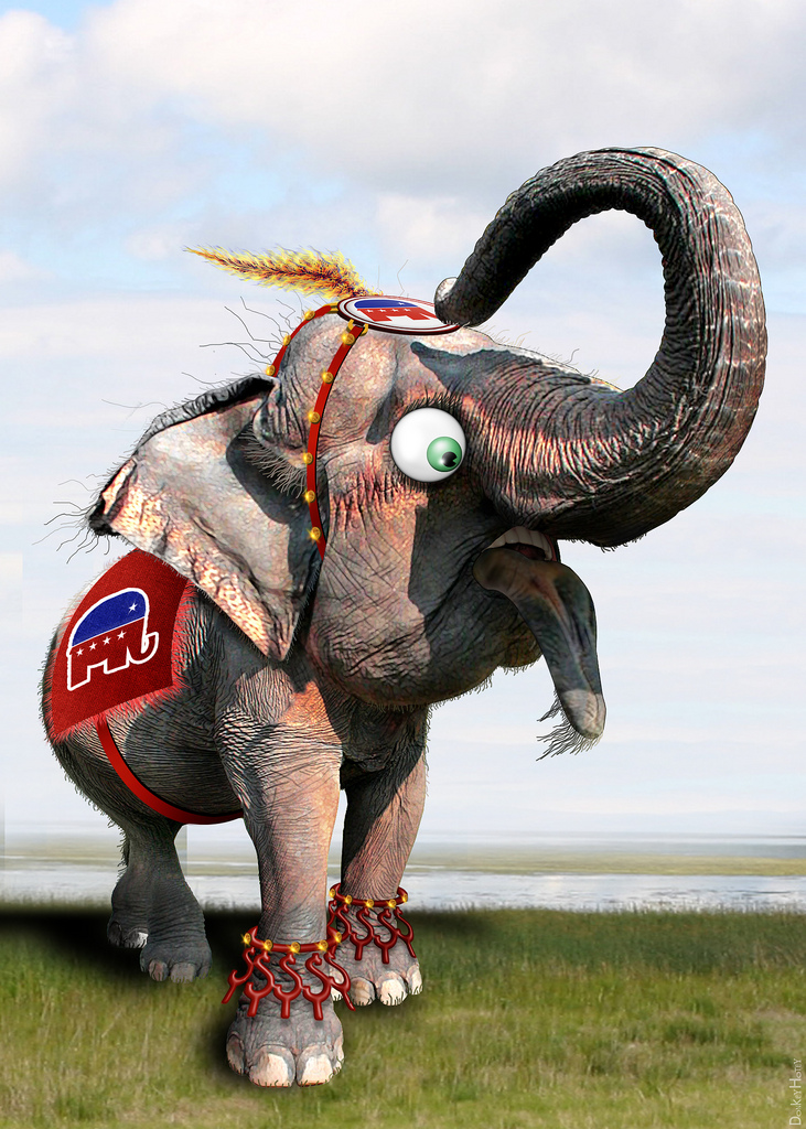 A caricature of the GOP elephant, dressed as a circus elephant.