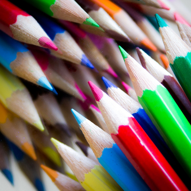 An array of very sharp colored pencils.
