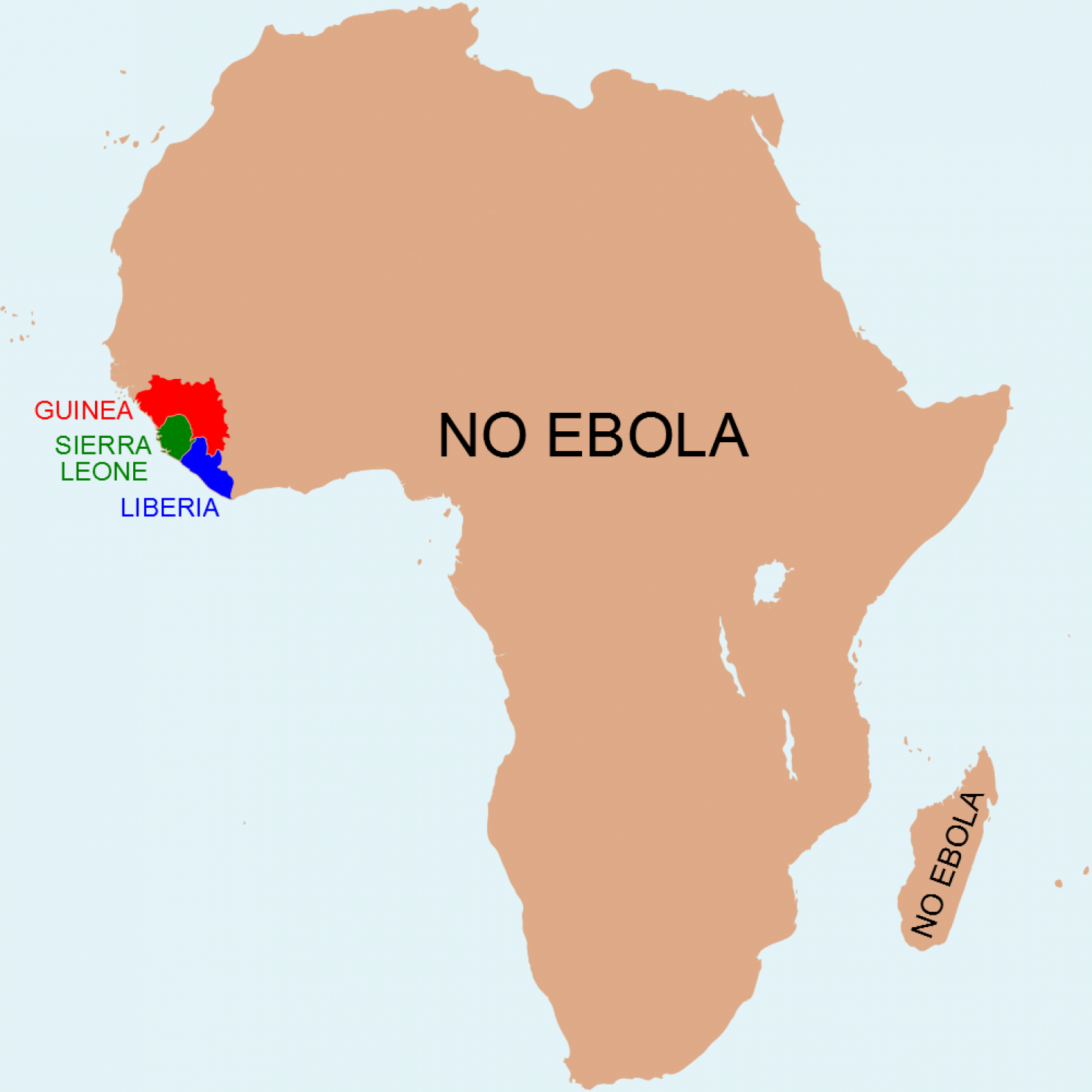 A map of Africa, highlighting the fact that most of the continent is Ebola-free