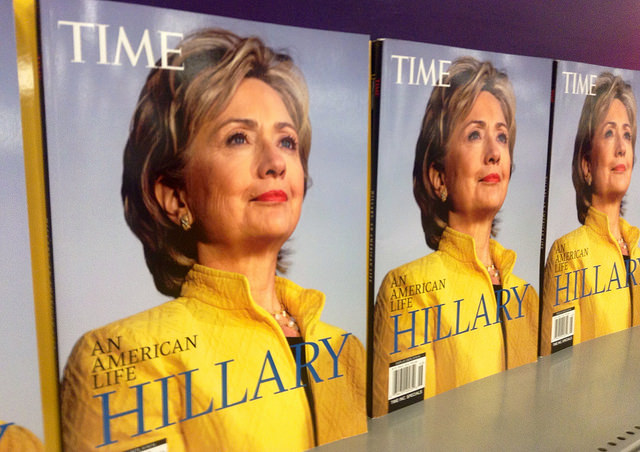 A row of Time Magazine covers featuring Hillary Clinton