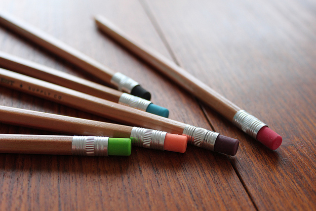 A spray of pencils with coloured erasers.