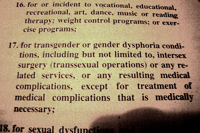 An excerpt from a contract regarding transgender discrimination