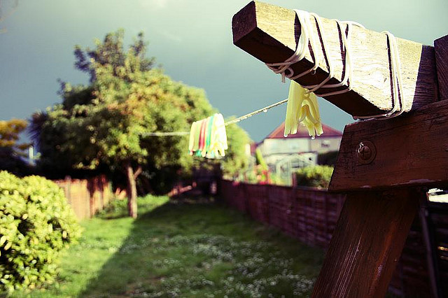 Laundry drying in a backyard