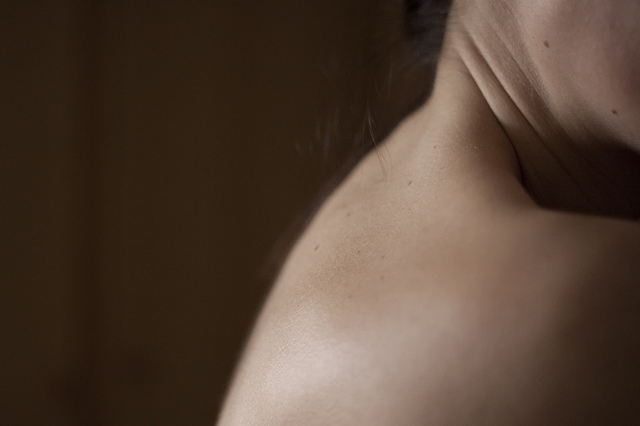 A person's neck and shoulders