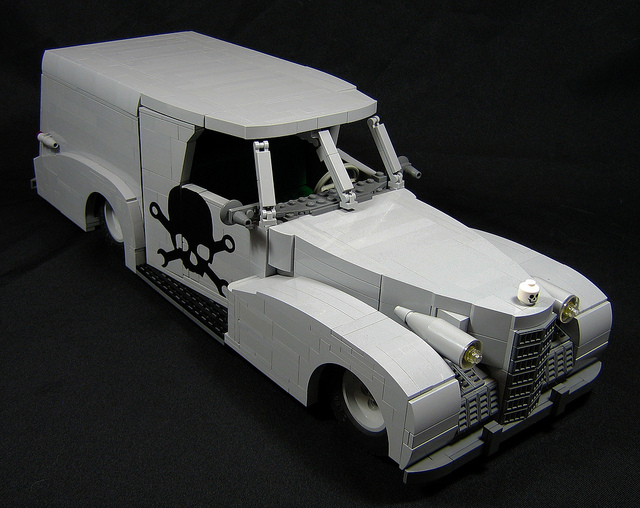 A hearse made from LEGO