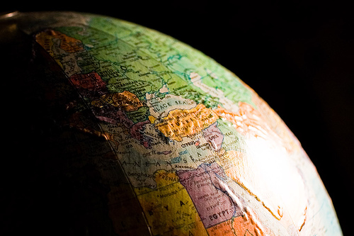 A view of a globe against a black background