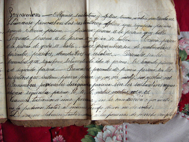 A school workbook from the turn of the 20th century that showcases elegant handwriting