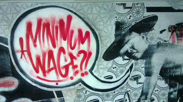 Graffiti art promoting a higher minimum wage