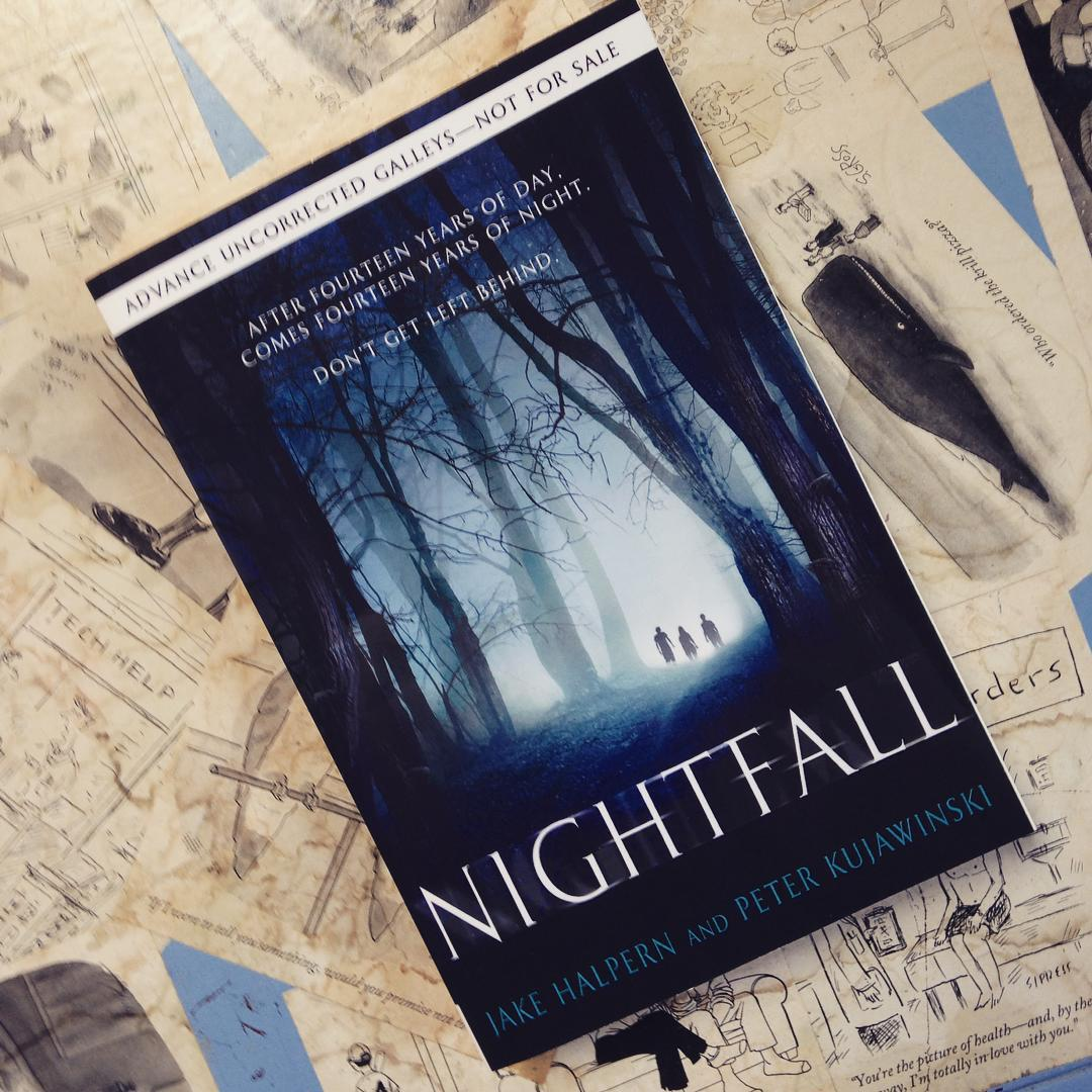 Three children alone in the woods on the cover of NIGHTFALL