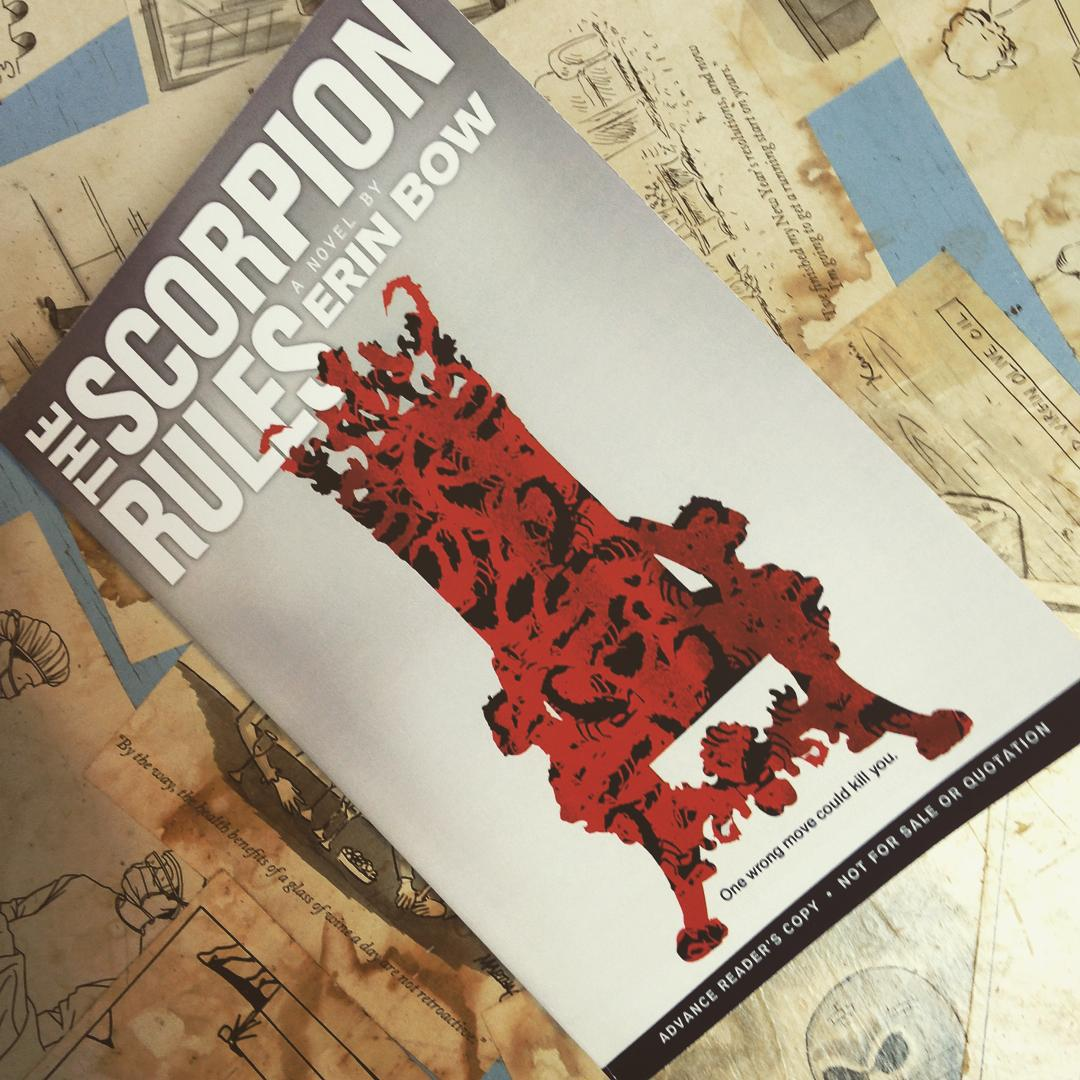 A red chair made of scorpions on the cover of THE SCORPION RULES.
