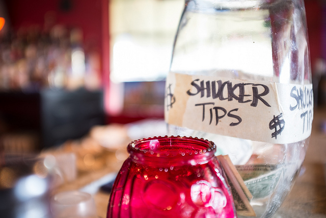 A tip jar on a counter