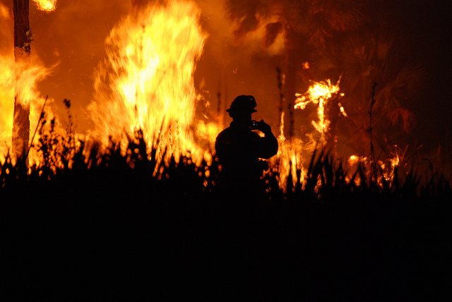 A wildland firefighter silhouetted against a blaze.