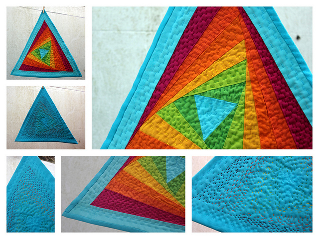 A collage of detail photos featuring a multicoloured triangular quilt.