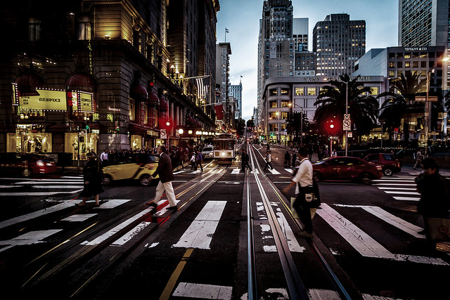 Busy streets in San Francisco.