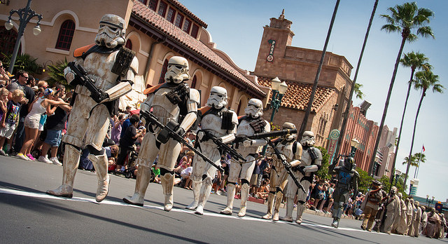 People dressed as stormtroopers from Star Wars.