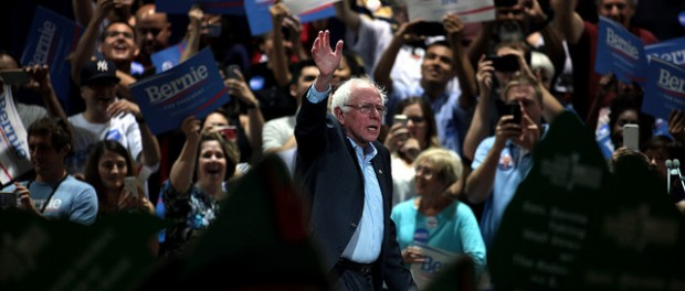 Presidential candidate Bernie Sanders at a rally.