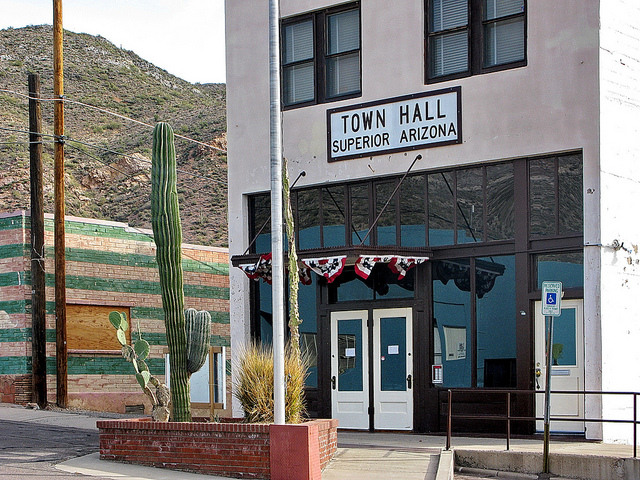 A town hall in a rural Arizona community.