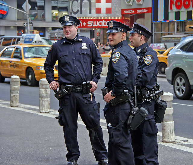 A group of NYPD officers on the street.