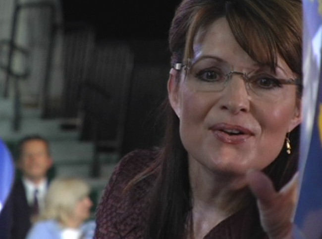 Sarah Palin making a campaign appearance.