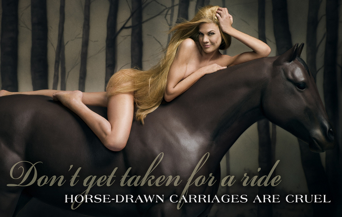 A nude woman lying on a fake horse, her hair strategically draped to hide most of her torso. The caption tells the viewer to eschew carriage rides.