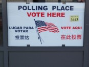 A sign for a polling place.