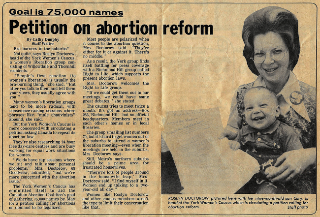 Cory Doctor and his mother featured in an article about abortion rights.
