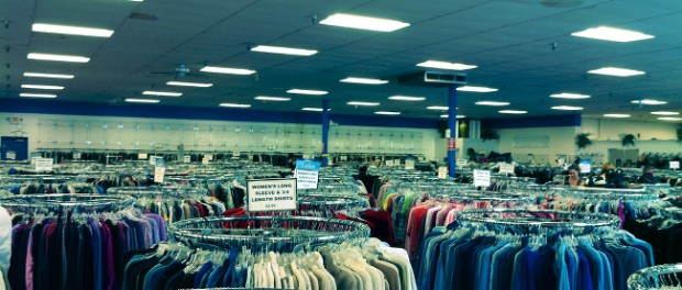 Racks of clothing at Goodwill