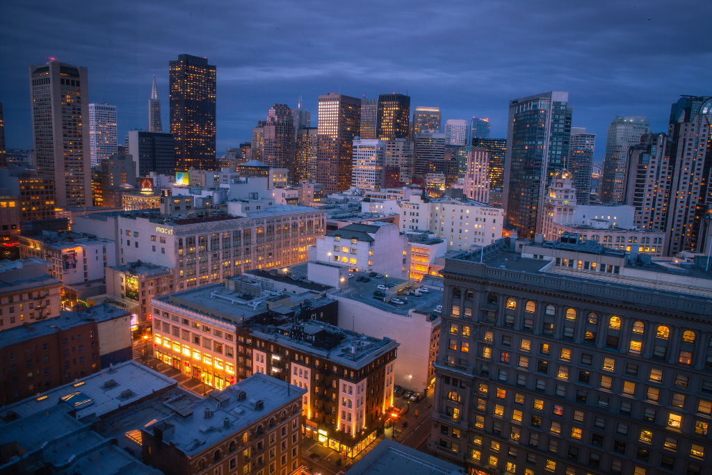 A view of San Francisco at night.