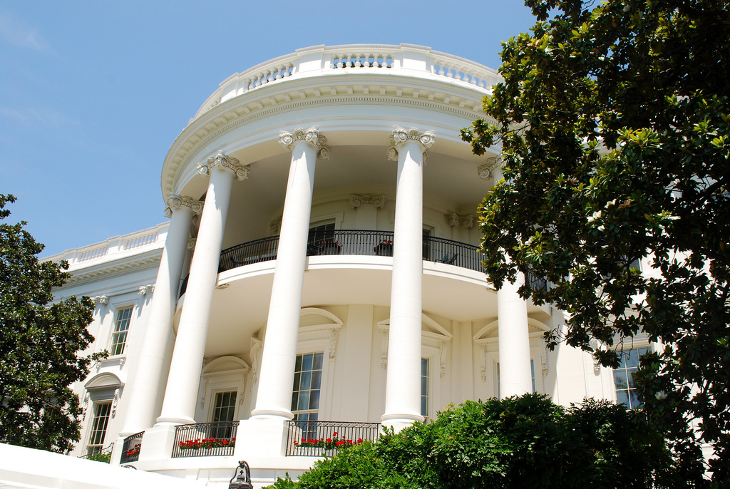 The Oval Office, viewed from the outside.