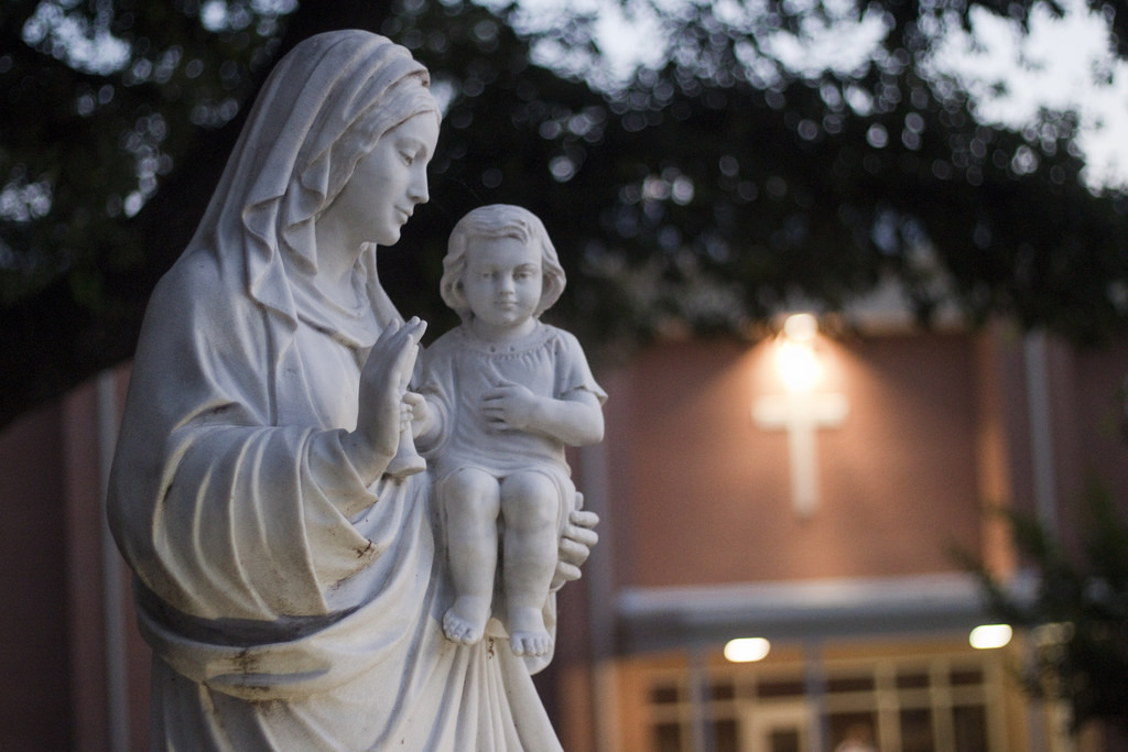 A statue of the Virgin Mary and Baby Jesus.