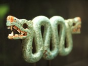 An ornament in the shape of a serpent.