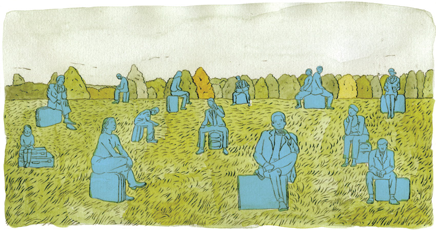 A painting of blue figures seated on suitcases in the middle of a grassy field.