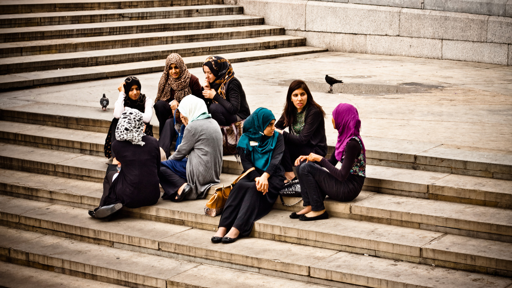 A group of women enjoying the afternoon at Trafalgar Square.